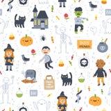 Super nahtloses Muster Halloweens auf weißem Hintergrund Stockfoto