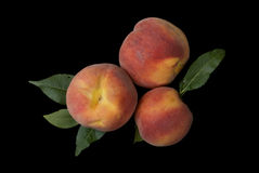 Super Natural Peaches On Black. Isolate. Royalty Free Stock Photo