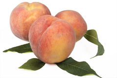 Super Natural Peaches On White. Royalty Free Stock Photography
