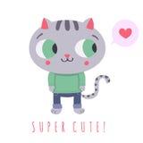 Super nette graue Katze in den Jeans und in der Strickjacke mit Spracheblasen- und -herzillustration Lizenzfreie Stockfotografie