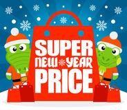 Super New Year Price card with alligator and iguana Royalty Free Stock Image