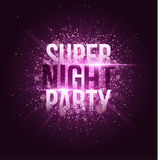 Super night party. Bright purple flash with rays of light and glare bokeh. Purple dust in the night. Festive brochure. Your projec. T. Vector illustration Royalty Free Stock Photos