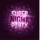 Super night party. Bright purple flash with rays of light and glare bokeh. Purple dust in the night. Flying musical notes. Festive. Brochure. Your project Royalty Free Stock Photos
