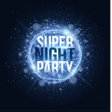 Super night party. Glowing neon magic banner made of strips of blue dust. Bright blue flash with rays of light. Festive brochure. Vector illustration Stock Image