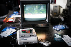 Super Nintendo Entertainment System. Poznan Games Fair Game Arena (PGA) on the picture The Super Nintendo Entertainment System (also known as the Super NES, SNES Stock Photos