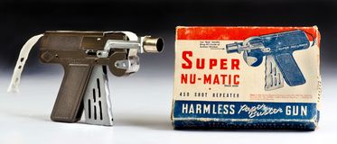 Super Nu Matic Cap Gun. Dallas,Texas Aug. 5-18 Super Nu Matic toy cap gun made in the 1950`s. Looks like a lazer ray gun for the space race royalty free stock images