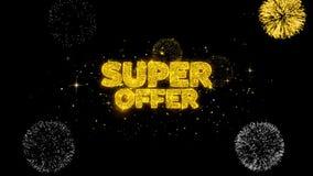 Super oferty złoty tekst mruga cząsteczki z złotym fajerwerku pokazem