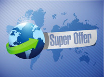 Super offer globe message illustration Royalty Free Stock Images