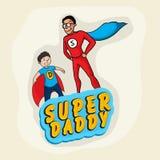 Super ojczulek z synem dla ojca dnia świętowania ilustracji
