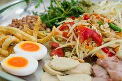 The Super pan of Green Papaya Salad Recipe with shrimp. Stock Photo