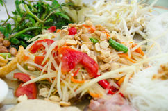 The Super pan of Green Papaya Salad Recipe with shrimp. Royalty Free Stock Photography