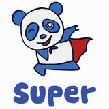 Super panda for t-shirt design Royalty Free Stock Photo