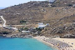 Super Paradise Beach in Mykonos Stock Photo