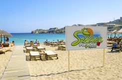 Super paradise beach, Mykonos, Greece stock photos