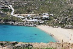 Super paradise beach. Beach still free from the tourist august to Mykonos Royalty Free Stock Photo