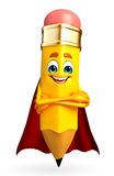 Super Pencil Character Royalty Free Stock Image