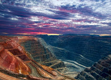 Super Pit Gold mine ,. Kalgoorlie Western Australia at Sunrise Stock Images