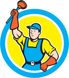 Super Plumber With Plunger Circle Cartoon. Illustration of a super plumber holding raising plunger set inside circle on isolated background done in cartoon style Royalty Free Stock Photography