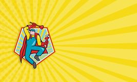 Super Plumber Plunger Wrench Cartoon. Business card template illustration of a superhero super plumber jumping with cape holding monkey wrench and plunger done Stock Images