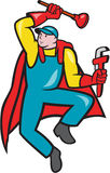 Super Plumber Plunger Wrench Cartoon. Illustration of a superhero super plumber jumping with cape holding monkey wrench and plunger done in cartoon style on Royalty Free Stock Images