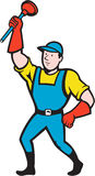 Super Plumber Wielding Plunger Cartoon. Illustration of a super plumber wielding holding plunger done in cartoon style on isolated background Royalty Free Stock Photography