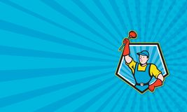 Super Plumber Wielding Plunger Pentagon Cartoon. Business card template illustration of a super plumber wielding holding plunger done in cartoon style set inside Royalty Free Stock Photo