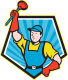 Super Plumber Wielding Plunger Pentagon Cartoon Stock Images