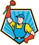 Super Plumber Wielding Plunger Pentagon Cartoon. Illustration of a super plumber wielding holding plunger done in cartoon style set inside pentagon shape on Stock Images