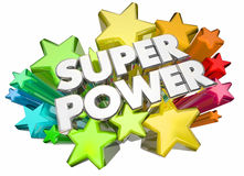 Super Power Hero Strength Words Stars Stock Photos