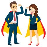 Super Powerful Business Team. Superhero business man and woman team together with capes arm up power concept royalty free illustration