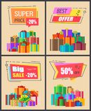 Super Price -20 Best Offer Vector Illustration. Super price -20 best offer and mega sale, collection of posters with images of various presents with ribbons and Royalty Free Stock Images