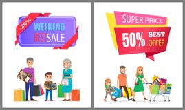 Super Price Best Offer Off Label on Poster Family. Weekend best sale super price offer 50 off label on poster with family on shopping. Mother, father and child Vector Illustration