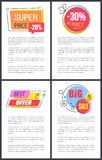 Super Price 20 and Best Offer Vector Illustration. Super price -20 and best offer, set of posters with bright stickers with headlines and decorative elements and vector illustration