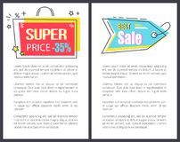 Super Price Best Sale Promo Stickers Bag Arrow Set. Super price best sale promo sticker in bag shape frame arrow pointer 35 discount offer vector illustration stock illustration