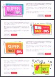 Super Price -20 Collection Vector Illustration. Super price -20 , big and best sale, collection of internet pages with text sample, titles in squares and buttons stock illustration