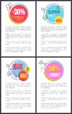 Super Price and Big Sale -50 Vector Illustration. Super price and big sale -50 off, posters with colorful stickers and text sample placed in bottom of banner Stock Photos