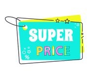 Super Price Big Sale 20 Off Sticker in Flat Style. Promo label isolated on white. Hanging tag advertising sign with text, geometric discount coupon vector illustration