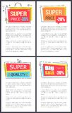 Super Price -35 and Big Sale Vector Illustration. Super price -35 and big sale, rectangular labels with bows on top of them, headlines and text sample vector Royalty Free Stock Photography