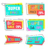 Super Price Big Sale 20 Set Stickers Flat Style. Super price big sale 20 off set of stickers in flat style, promo label isolated on white. Arrow and rectangle royalty free illustration
