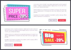Super Price -20 , Big Sale 20 Vector Illustration. Super price -20 and big sale -20 , internet pages made of headline, informational text and buttons vector Royalty Free Stock Images