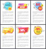 Super Price -50 and Big Sale Vector Illustration. Super price -50 and big sale, best offer, banners with designed badges with headlines and stars, and additional Stock Image