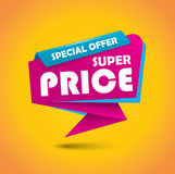 Super price bubble banner - vibrant pink and blue Stock Photography