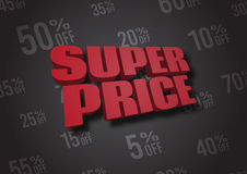 Super Price 3D illustration Royalty Free Stock Photography