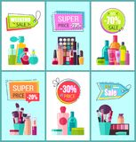 Super Price for Decorative and Medical Cosmetics. Promotional posters set. Makeup elements and skin lotions cartoon vector illustrations on banners Royalty Free Stock Images