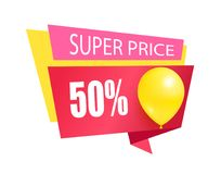 Super Price 50 Discount Sale Tag Balloons Label. Super price fifty percent discount sale tag with inflatable helium balloon, sale best price color sticker with Stock Photography