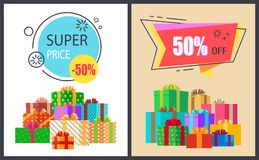 Super Price Fifty Percent Off Promo Poster Package. Super price fifty percent off promo posters with packed gift boxes, advertisement posters informing about Royalty Free Stock Photos