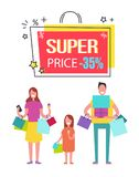 Super Price with 35 Off Banner with Happy Family. Super price with 35 off banner with family who has hands full of shopping bags and gift boxes which they have Stock Image
