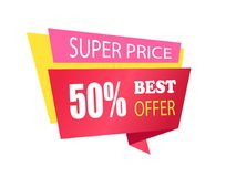Super Price 50 Off Best Offer Label with Info. About discounts shopping tag, advertisement sticker badge isolated on white vector in flat style design stock illustration