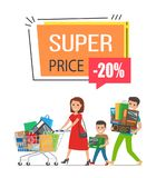 Super Price -20 Off Poster on Vector Illustration. Super price -20 off, promotional poster representing family, consisting of father, mother and son, shopping royalty free illustration