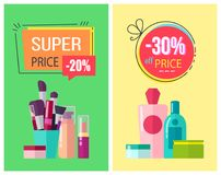 Super Price and -30 Off Price Vector Illustration. Super price, and -30 off price, posters collection with make up items, brushes and lotions, creams and Royalty Free Stock Images